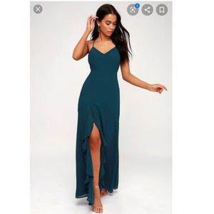 Lulus Navy Blue Love Lace Up Maxi Dress